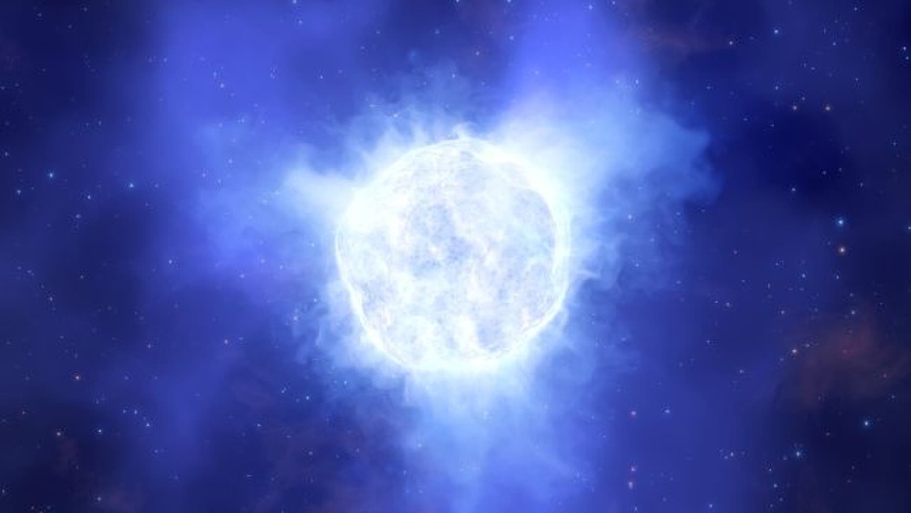 An artist's impression of the the luminous blue variable star that mysteriously vanished. Image caption (Credit: ESO/L. Calçada)