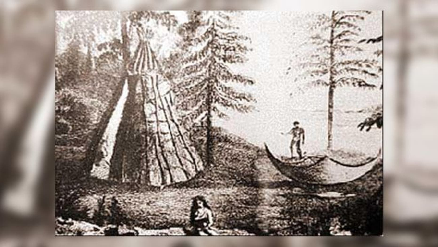 A drawing of a Beothuk camp in Newfoundland. (Credit History Collection/Alamy Stock Photos)