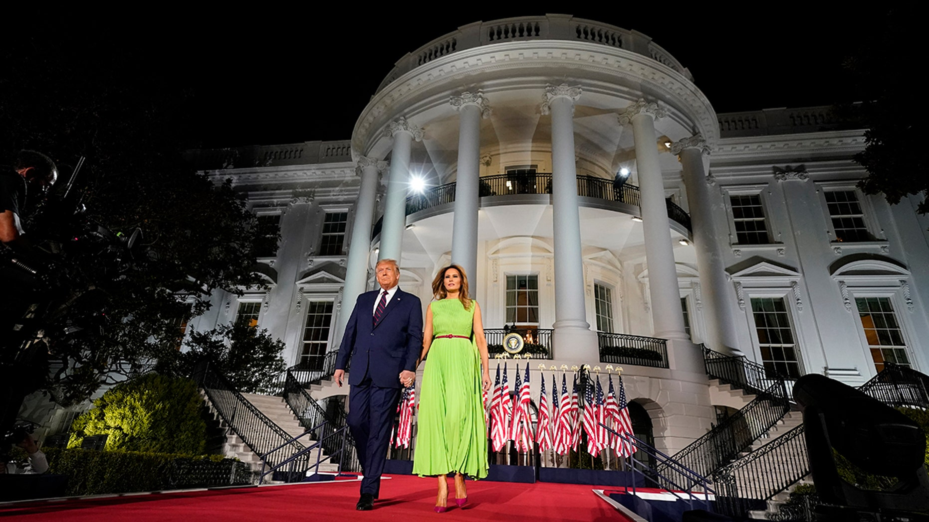 President Trump and first lady Melania Trump arriving for his acceptance speech to the Republican National Committee Convention at the White House last week. (AP Photo/Evan Vucci)