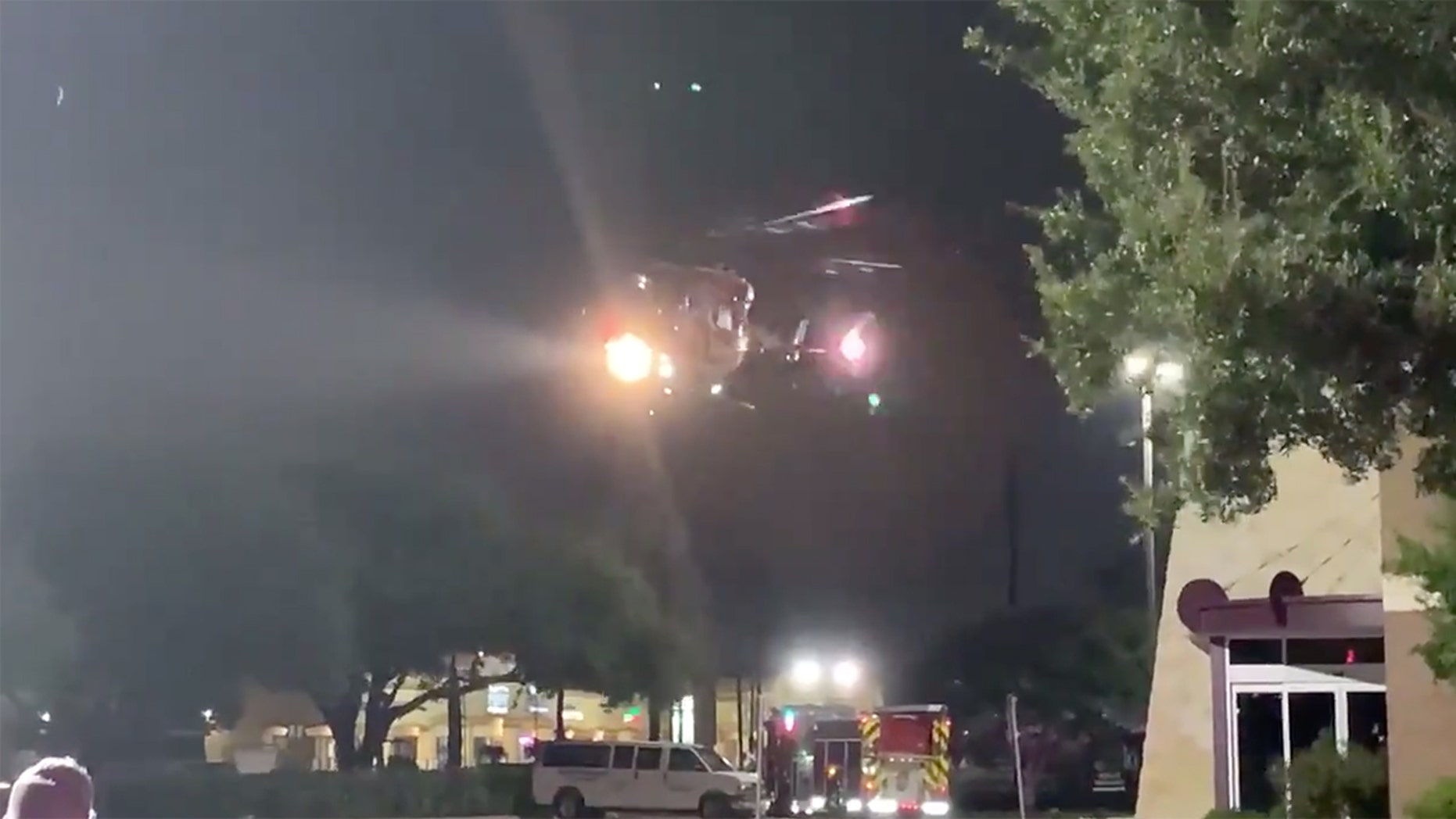 Screen image from video showing groom being airlifted to the hospital after being shot in the chest on his wedding day in Texas.