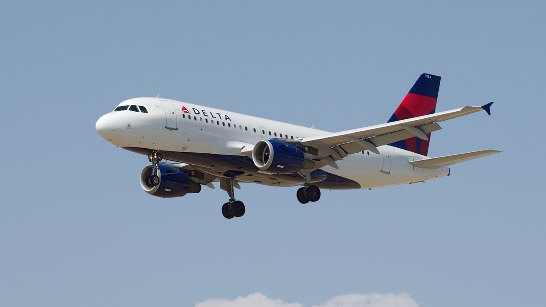 Delta Airlines Airbus A319 in flight shortly before landing at the Los Angeles Airport (LAX).