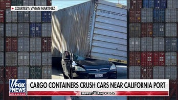 Shipping containers line California streets, crush car as result of port backlog