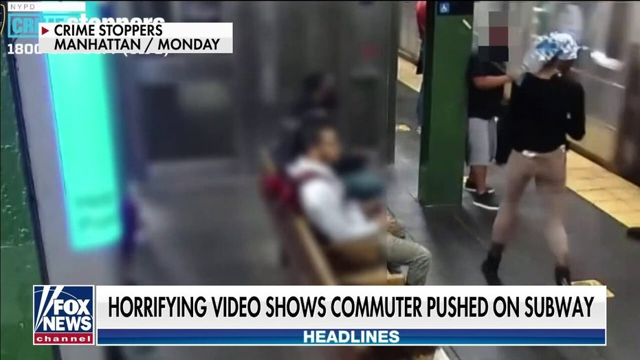 NYC woman shoves commuter into moving subway train at Times Square in brazen, on-camera attack