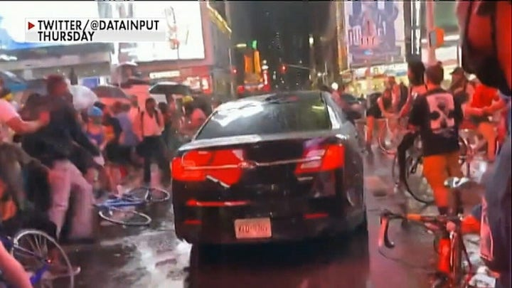 Car rams through crowd gathered in Times Square to protest Daniel Prude's death