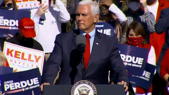 Pence, in Georgia, vows to 'keep fighting' but notes 'uncertain days ahead'