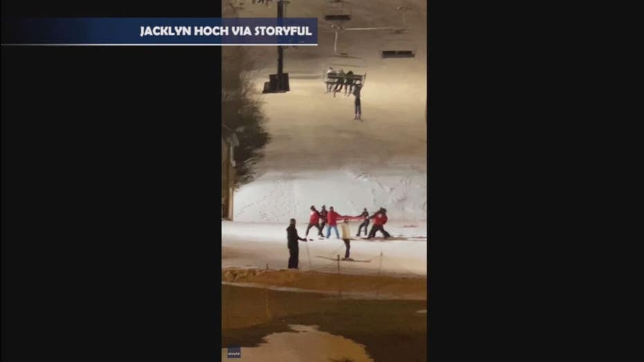 Skier in NY rescued after dangling from chairlift at resort, video shows