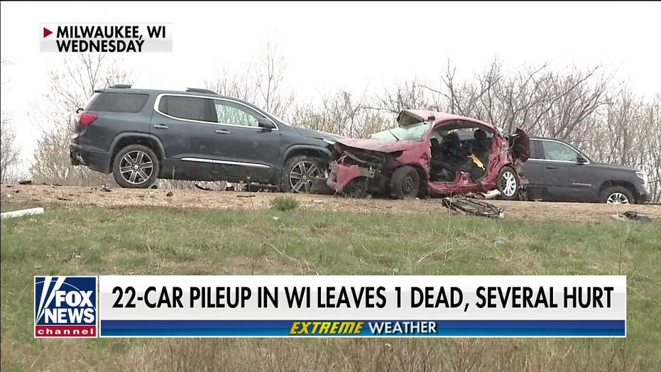 22-car pileup in Wisconsin leaves 1 dead, several injured amid white-out snow conditions