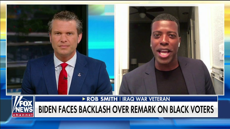 Iraq War veteran Rob Smith reacts after Biden says voters supporting Trump 'ain't black'