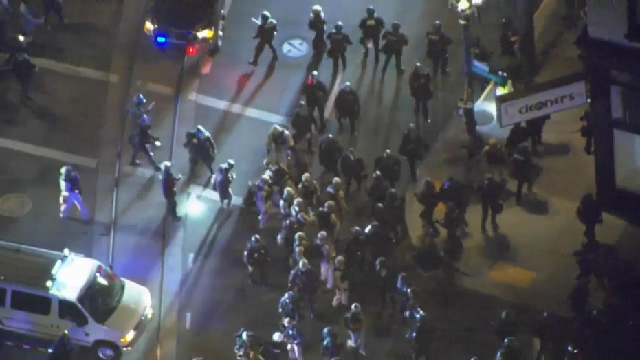Aerial coverage of unrest in Portland, Ore., ahead of election call