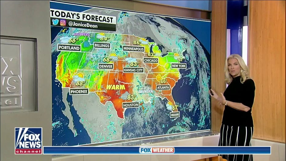 Cooler temperatures felt in regions across US as front brings risk of storms, heavy rain