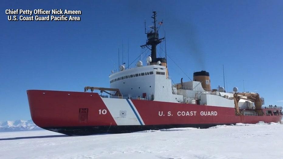 USCG Polar Star icebreaker in action