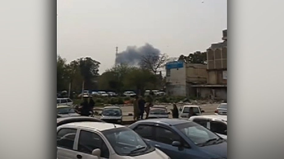Smoke seen rising from Pakistani Air Force jet crash