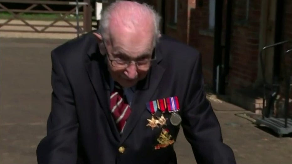 99-year-old British military veteran walks 100 laps in garden to raise funds for NHS