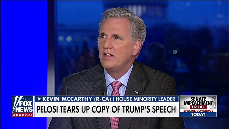 Kevin McCarthy reacts to Nancy Pelosi ripping up copy of SOTU address