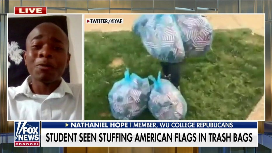 Student caught removing 9/11 tribute flags, placing in trash bags