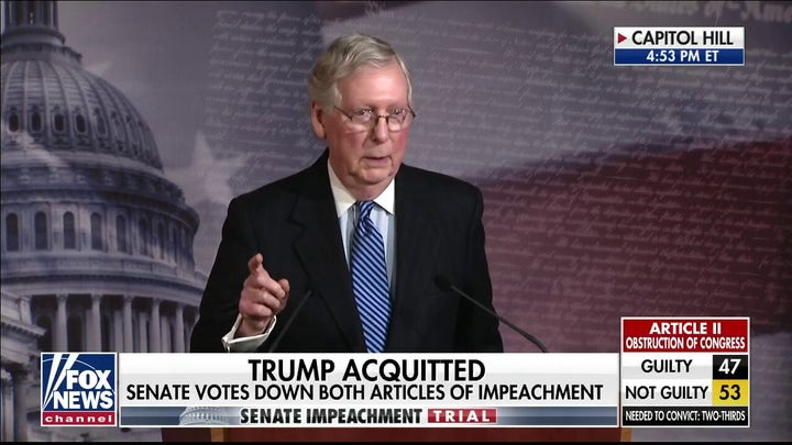 McConnell calls impeachment 'a colossal political mistake' for Democrats