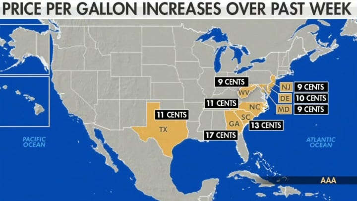 """<a data-cke-saved-href=""""https://www.foxnews.com/category/us/economy/keystone-pipeline"""" target=""""_blank"""" href=""""https://www.foxnews.com/category/us/economy/keystone-pipeline"""">Gas prices surge to the highest in seven years</a>"""