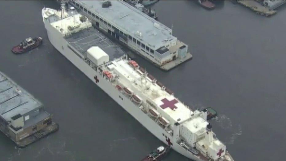 Medical reinforcements: USNS Comfort arrives in New York Harbor; field hospital constructed in Central Park