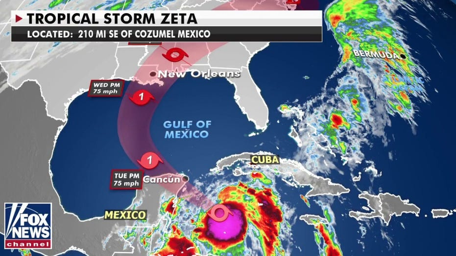 Tropical Storm Zeta 'rapidly strengthening' on way to Yucatan, takes aim at US Gulf Coast
