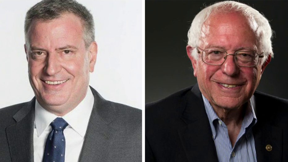 New York City Mayor Bill de Blasio endorses Bernie Sanders for president