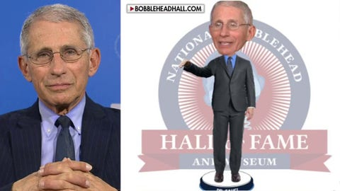 Dr. Fauci reacts to being honored with his own bobblehead doll