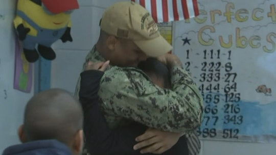 Sailor  surprises sister at school after returning home from deployment