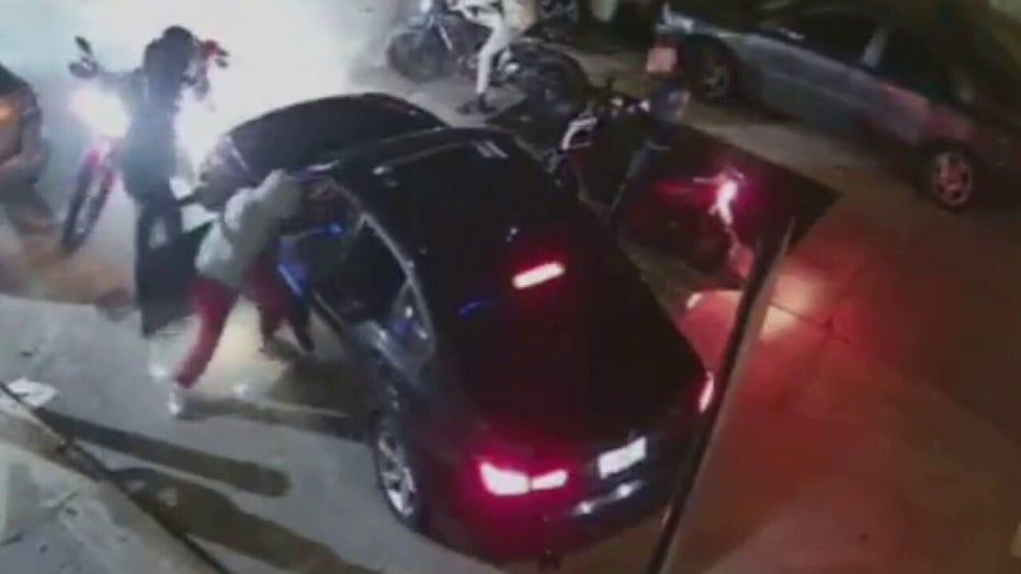 Violent motorcycle gang in NYC carjacks BMW, beats driver