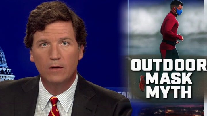 Tucker slams outdoor mask mandates, questions justification