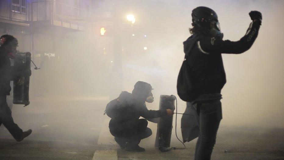 Antifa militants cause destruction in protest of Biden inauguration