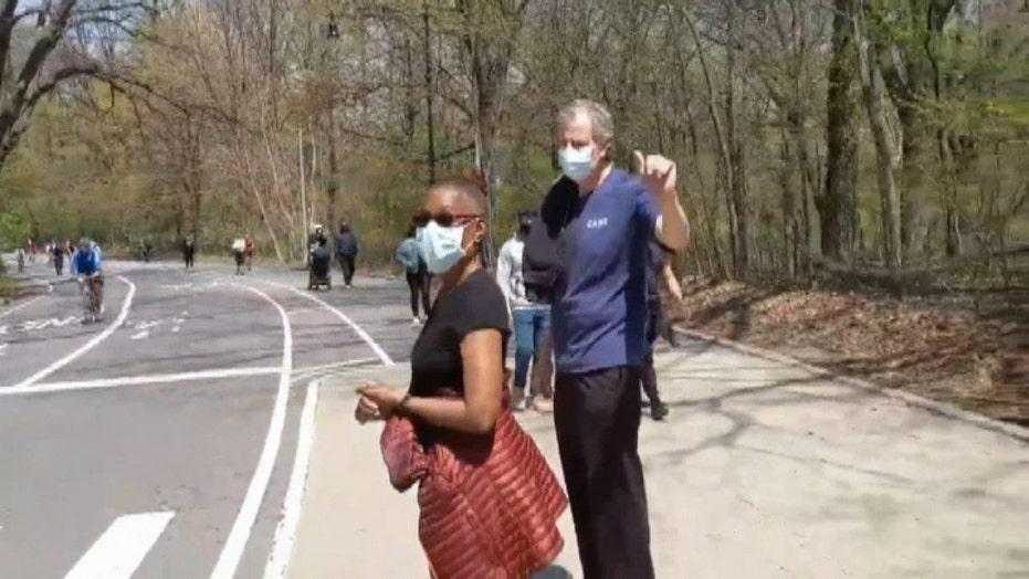 New York City mayor De Blasio blasted for strolling through Brooklyn's Prospect Park with wife