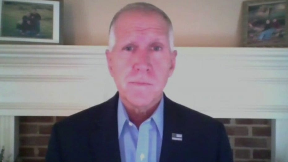 Sen. Thom Tillis reacts after being diagnosed with COVID-19