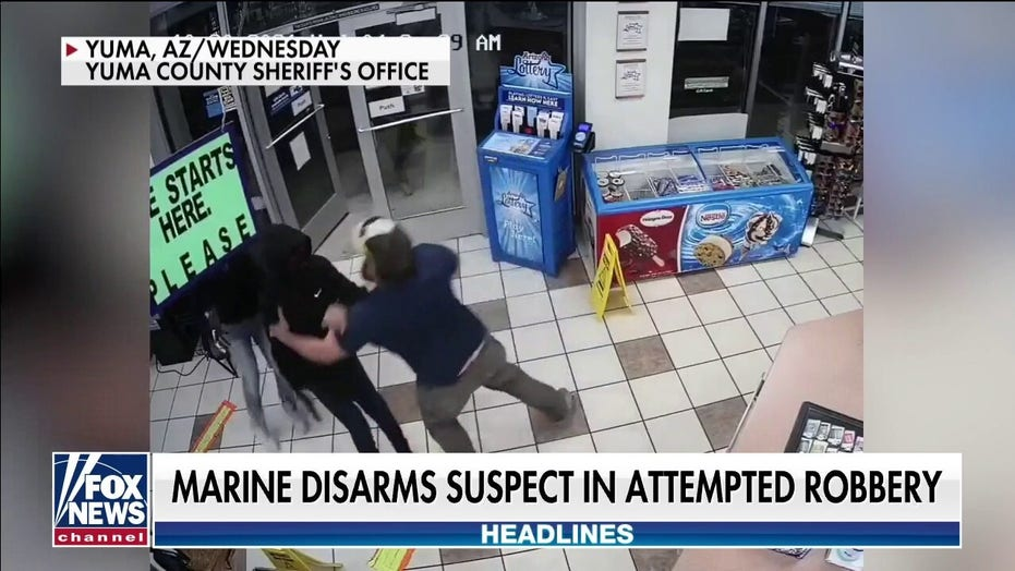 Marine Corps vet disarms gun-wielding robbery suspect at Arizona gas station, video shows