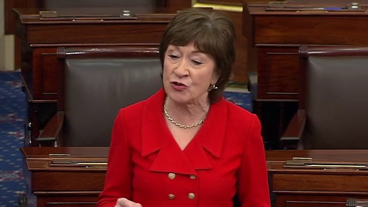 Sen. Collins announces plan to vote to acquit on both articles of impeachment
