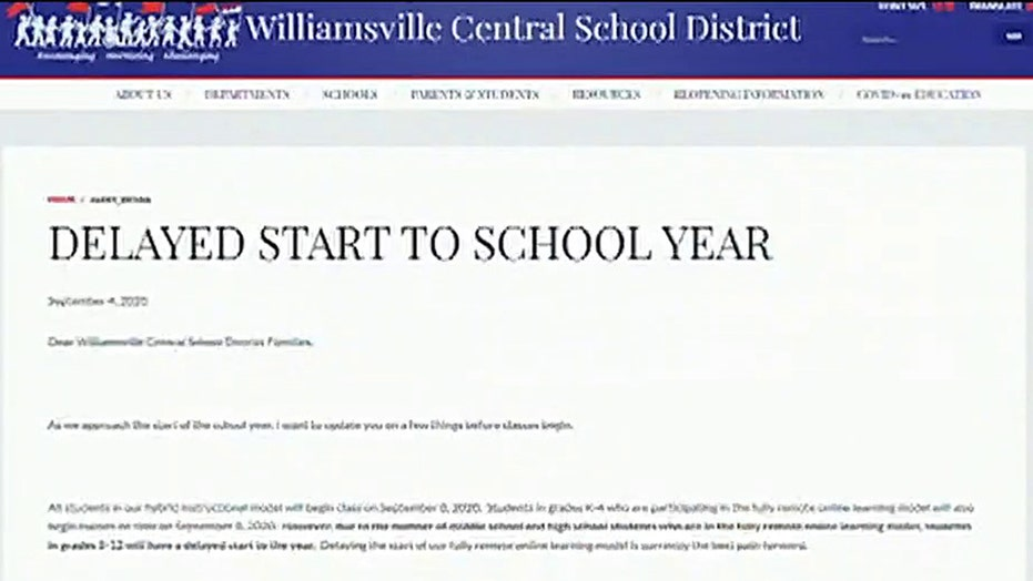 New York school district delays online learning
