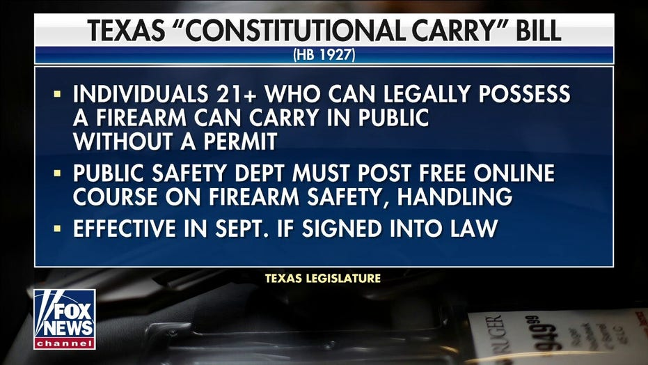 Texans will be able to carry handguns in public without a license on Sept. 1 under 'constitutional carry' law