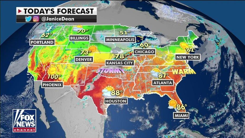 전국 일기 예보: Severe storms to again strike US midsection