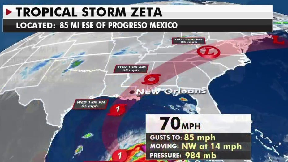 Hurricane warning for New Orleans as Zeta lashes Mexico's Yucatan Peninsula