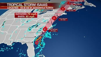 Tropical Storm Isaias moves up East Coast, could hit Carolinas at hurricane strength