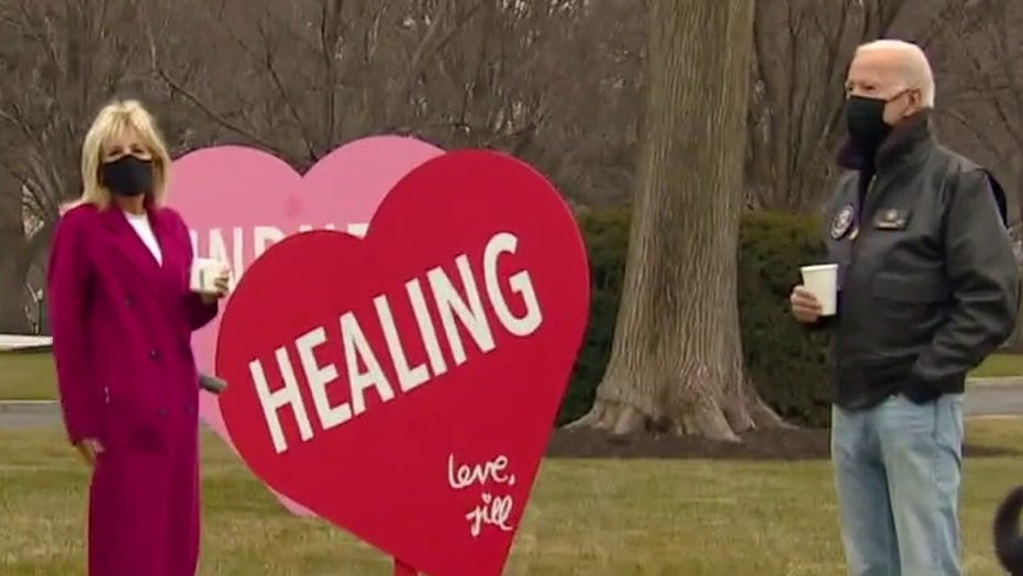 Jill Biden marks Valentine's Day with giant hearts on White House lawn