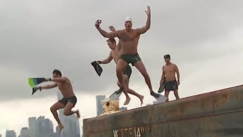 Pete Hegseth jumps into Hudson River for leg two of Navy SEAL swim