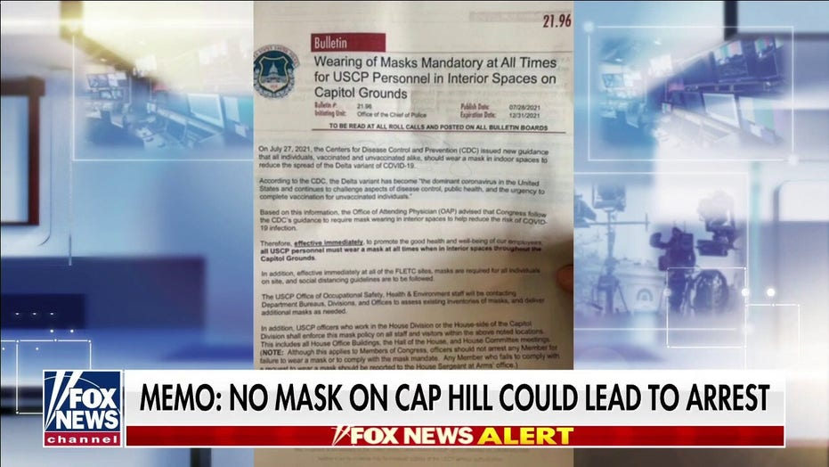 Capitol Police ordered to arrest staff, visitors not wearing masks after new House mandate