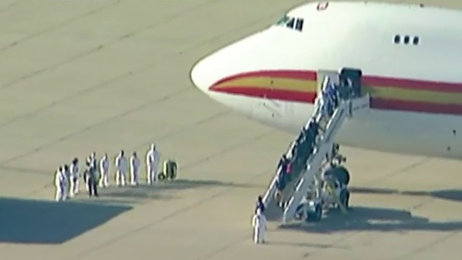 Child quarantined at California air base from Wuhan hospitalized after developing fever