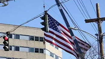 Tree service hangs giant US flag, 'thank you' sign at hospitals during coronavirus crisis