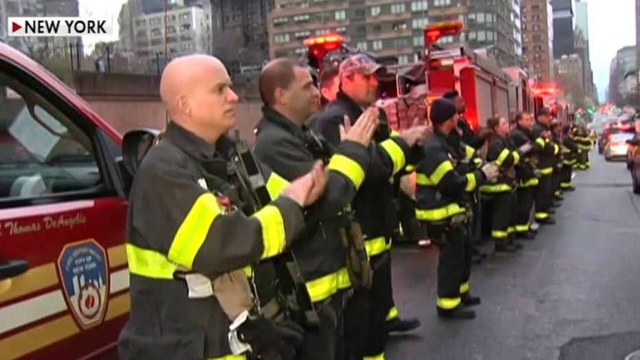 Firefighters salute health care workers in New York City