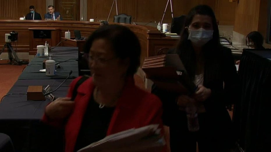 Rep Mazie Hirono walks out of Senate Judiciary Committee hearing