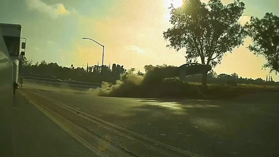 Car flies off highway, goes airborne in Modesto CA, footage reveals