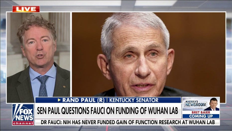 Rand Paul: 'Dr. Fauci Came to Congress Yesterday and Lied' About Funding of Wuhan Lab