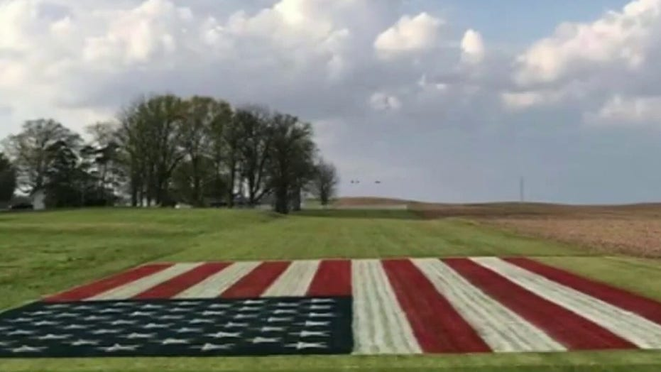 Indiana farmer paints giants American flag on field to salute health care workers