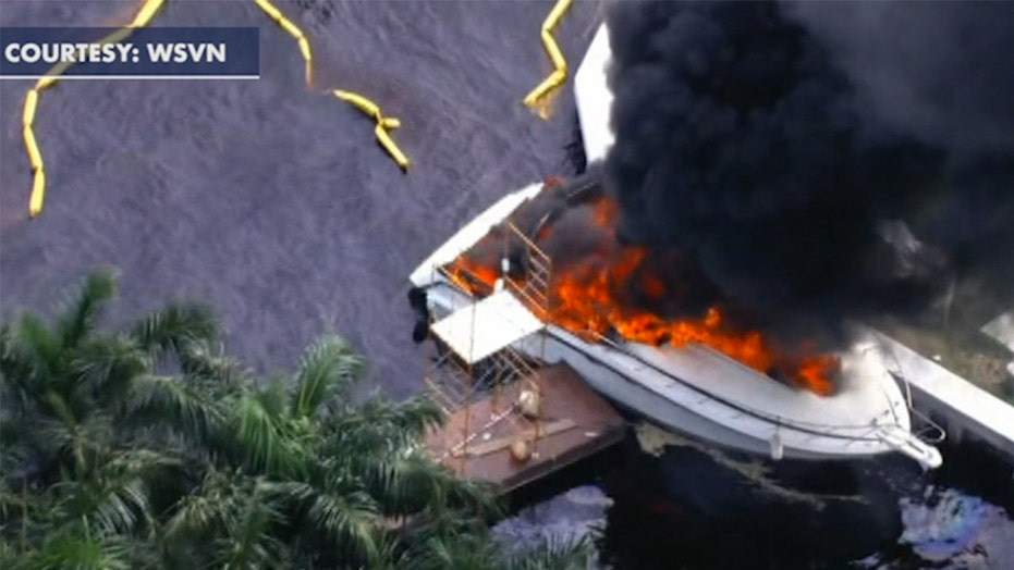 Warning graphic content: Boat in Ft. Lauderdale catches fire