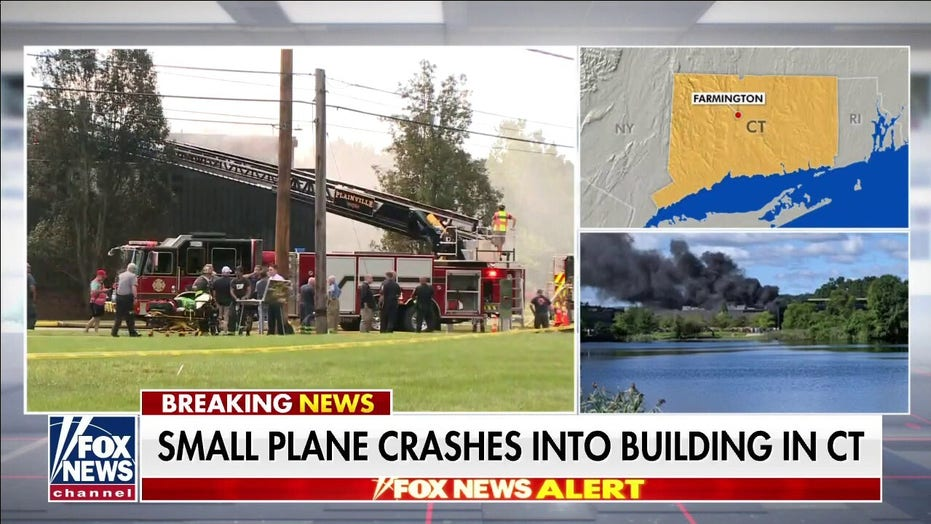 Small plane crashes into building in Connecticut